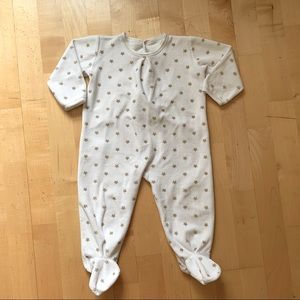 Petit Bateau White and Gold Stars Footie Onesie